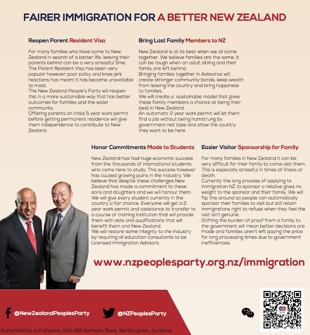 New Zealand People's Party Announce Their Immigration Policy