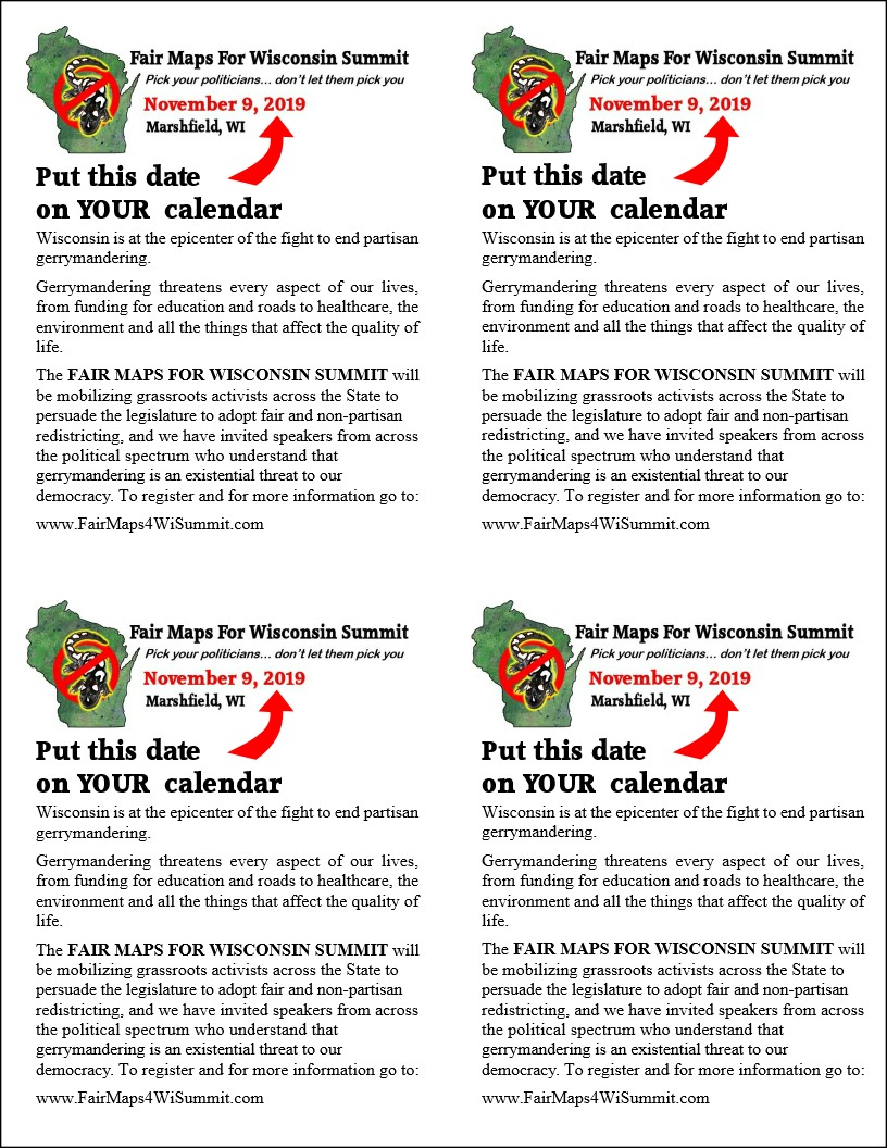 Flyer for Fair Map For Wisconsin Summit