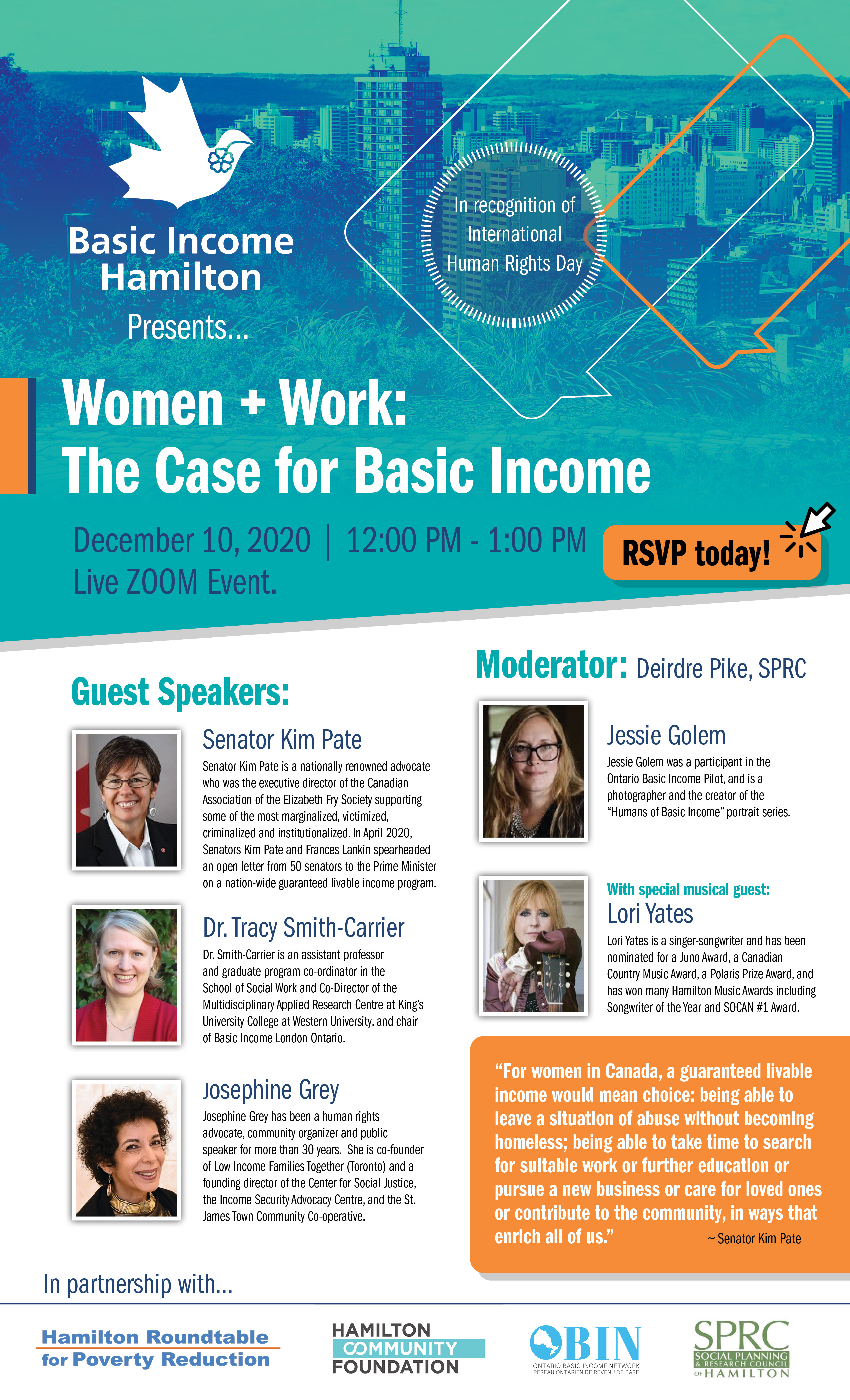 Women, Work and Basic income Webinar poster