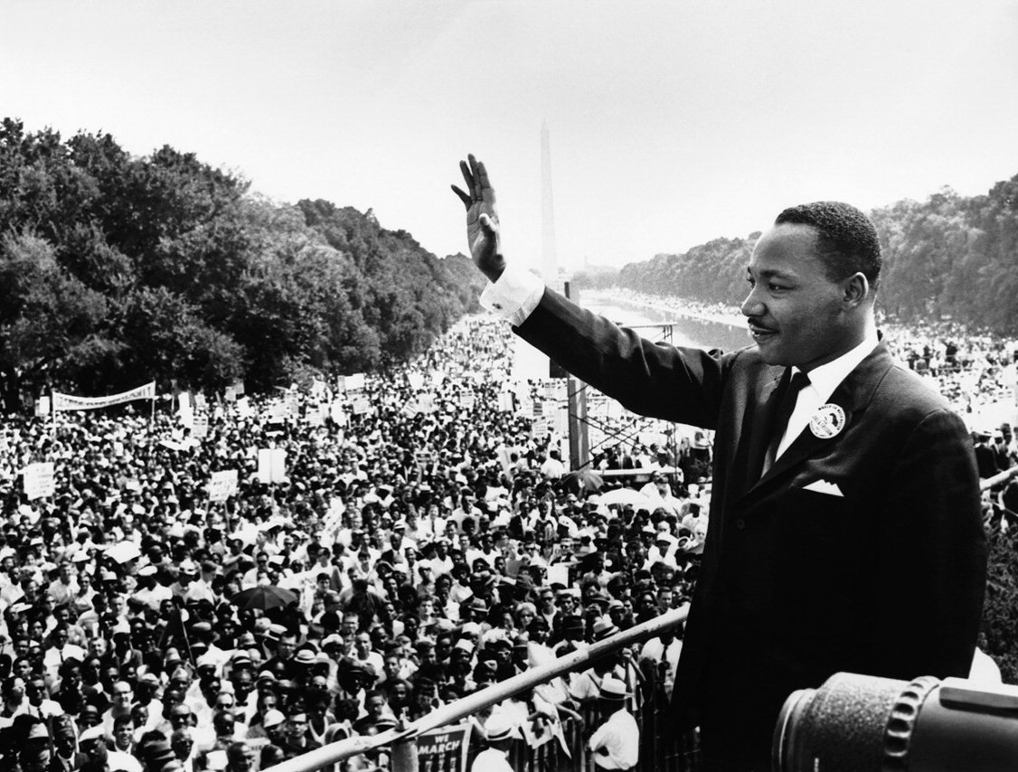 "(Wikipedia Commons). Martin Luther King Jr. addresses a crowd from the steps of the Lincoln Memorial where he delivered his famous, ""I Have a Dream,"" speech during the Aug. 28, 1963, march on Washington, D.C."
