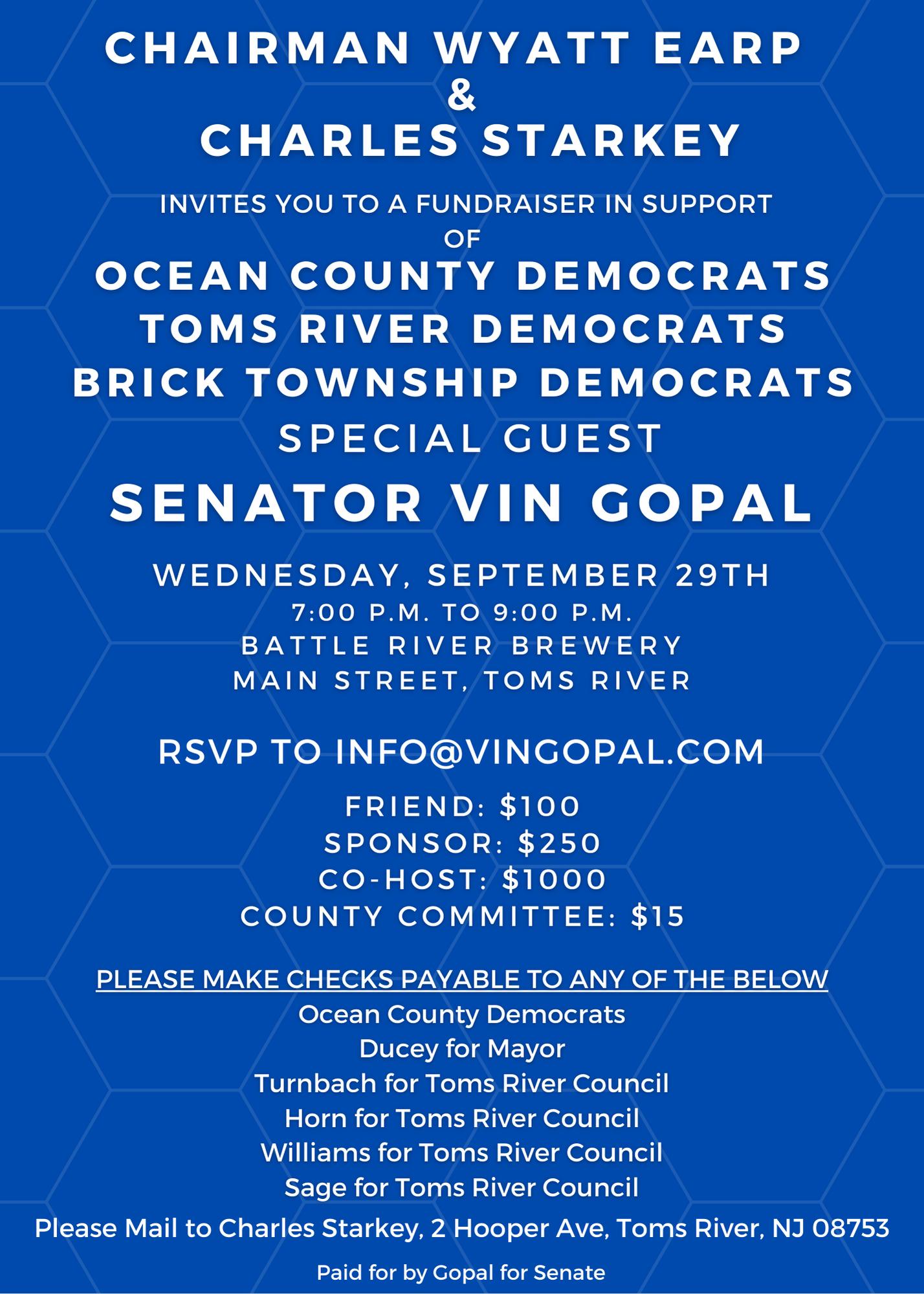 Ocean County Democrats Fundraiser with Vin Gopal