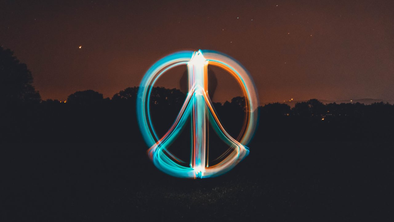 Time lapsed photo of a peace sign