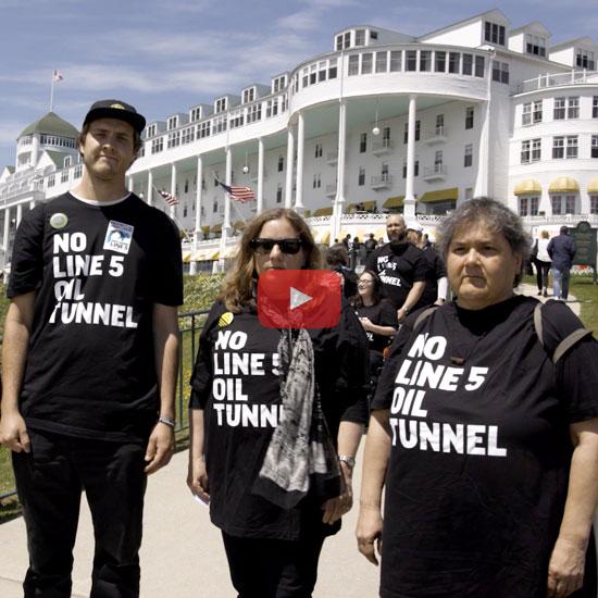Protestors on Mackinac Island