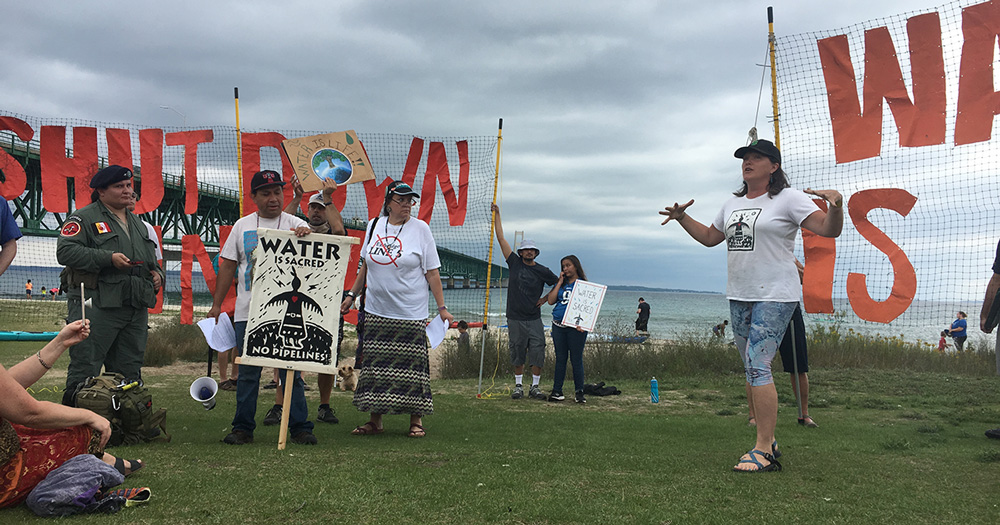 Press Conference at Pipe Out Paddle Protest