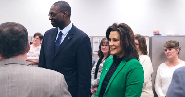 Gov. Whitmer with Lieutenant Gov. Gilcrest