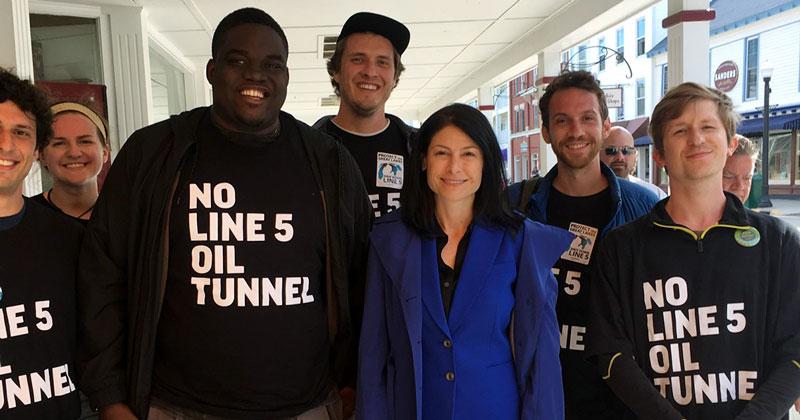 Protestors with Dana Nessel