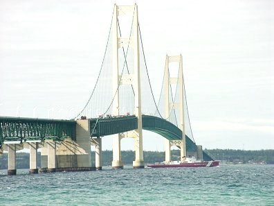 Coast Guard Cutter at the Mackinac Bridge