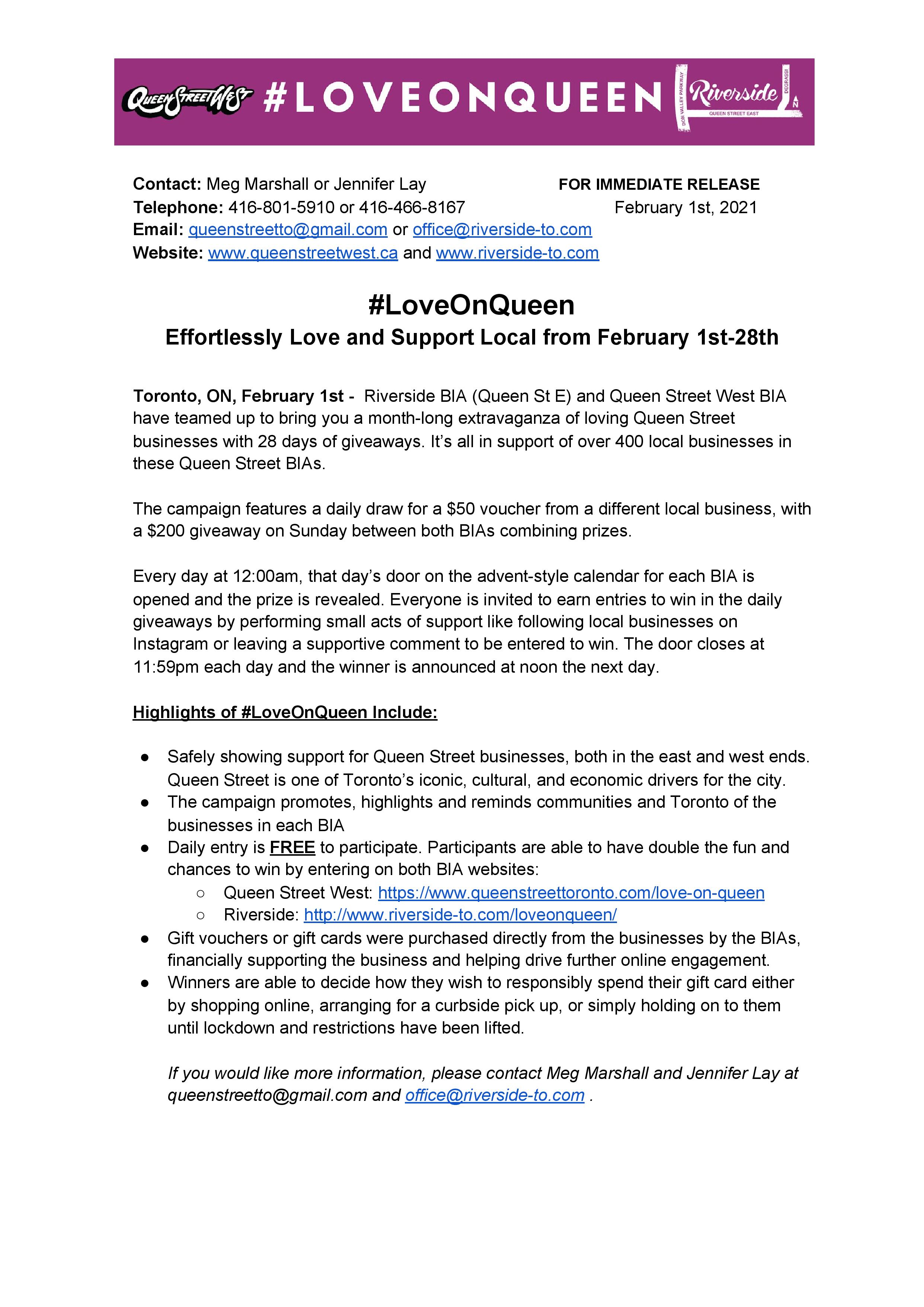 #LOVEONQUEEN Press Release