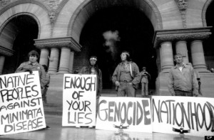 Toronto. 1975. Indians from Grassy Narrows Indian Reserve demonstrate on Queen's Park steps against Mercury poisoning. Credit: Barrie Davis / The Globe and Mail Neg. 75274-02