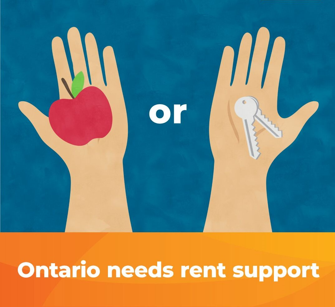 Image of someone choosing between food and rent to demonstrate the need for the province to step up