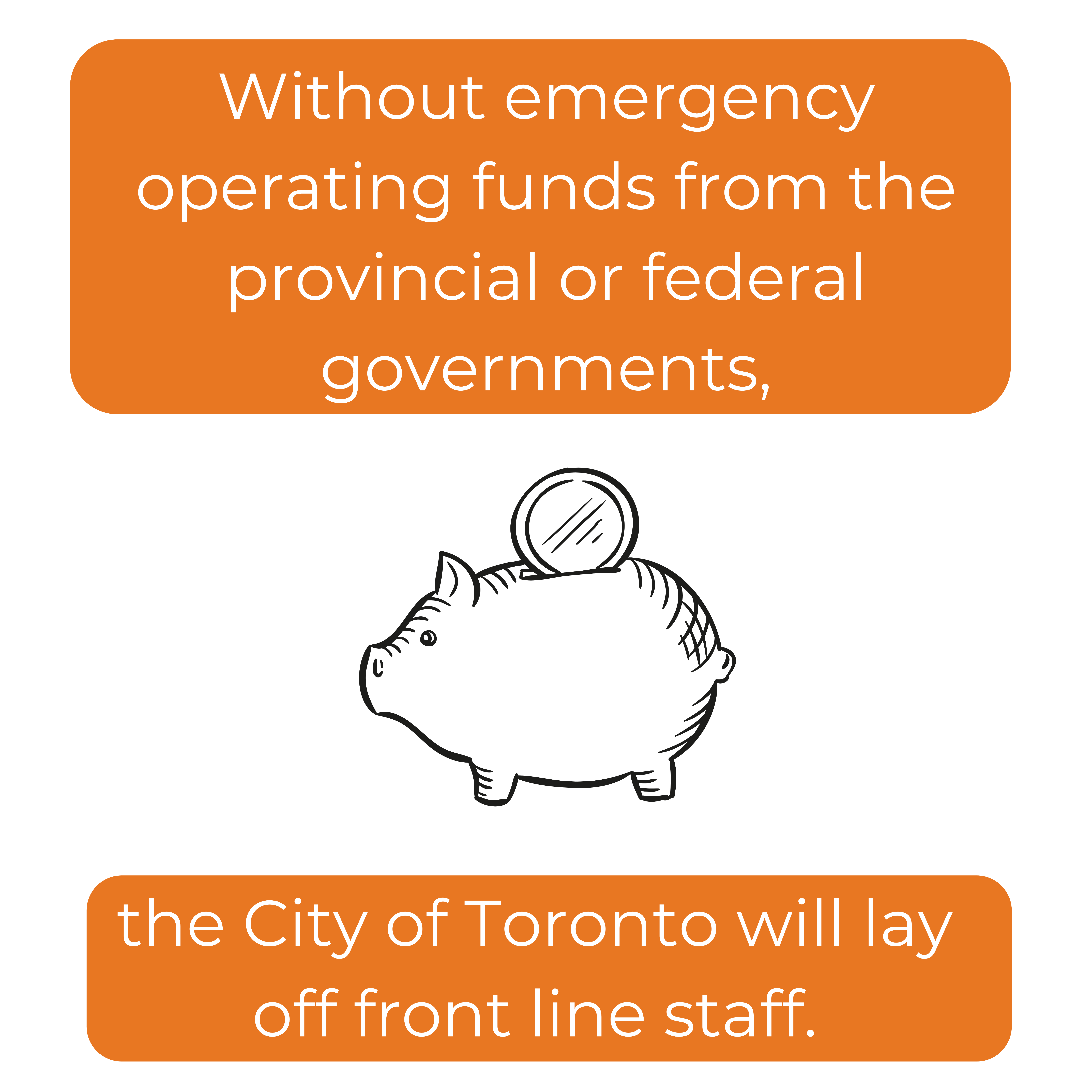 Without emergency operating funds from the provincial or federal governments, the city will lay off  front line staff.,