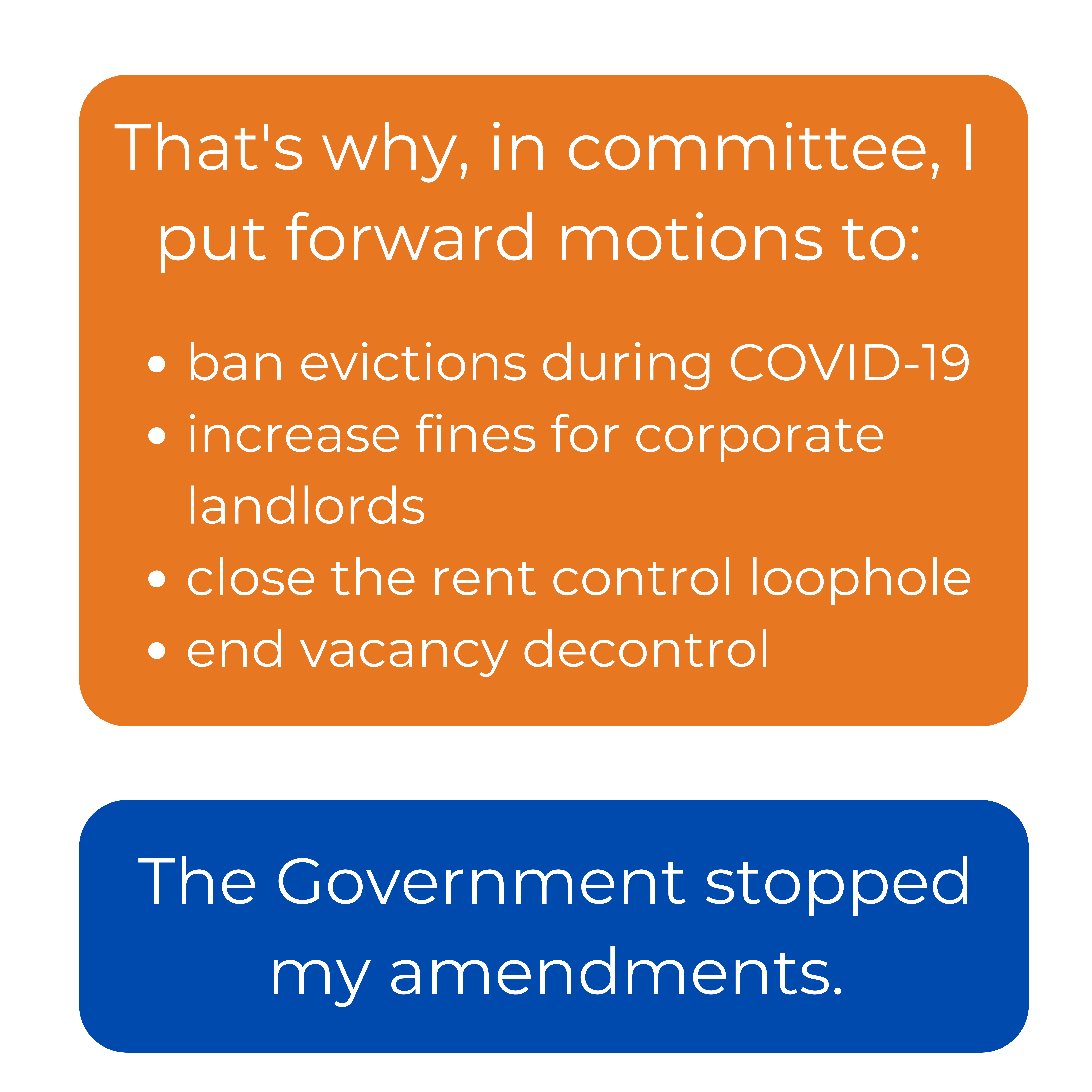 That's why, in committee, I put forward motions to: ban evictions during COVID-19 increase fines for corporate landlords close the rent control loophole end vacancy decontrol. The Government stopped my amendments.