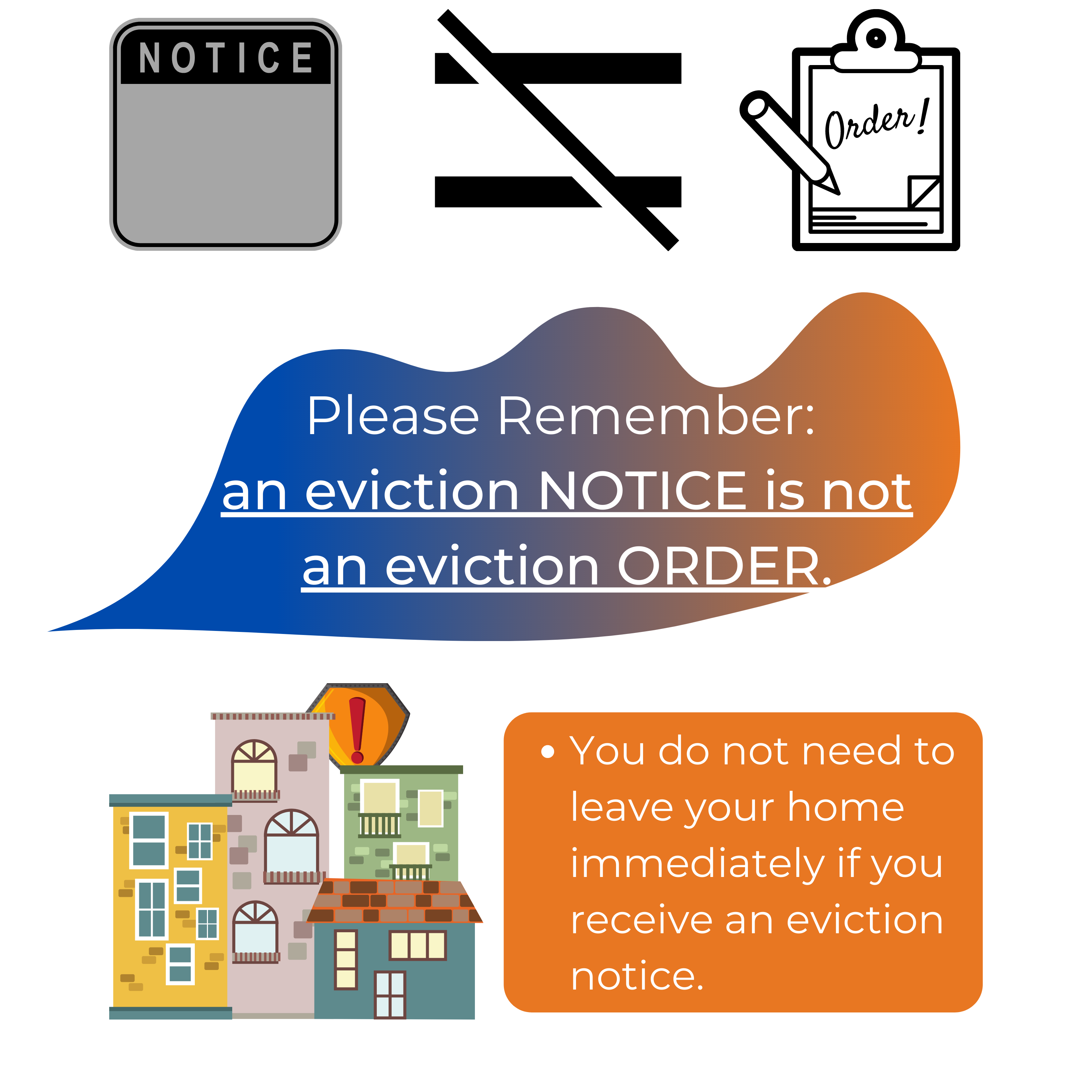 You can visit SuzeMorrison.ca/Tenants for more resources. Please Remember:  an eviction NOTICE is not an eviction ORDER.You do not need to leave your home immediately if you receive an eviction notice.