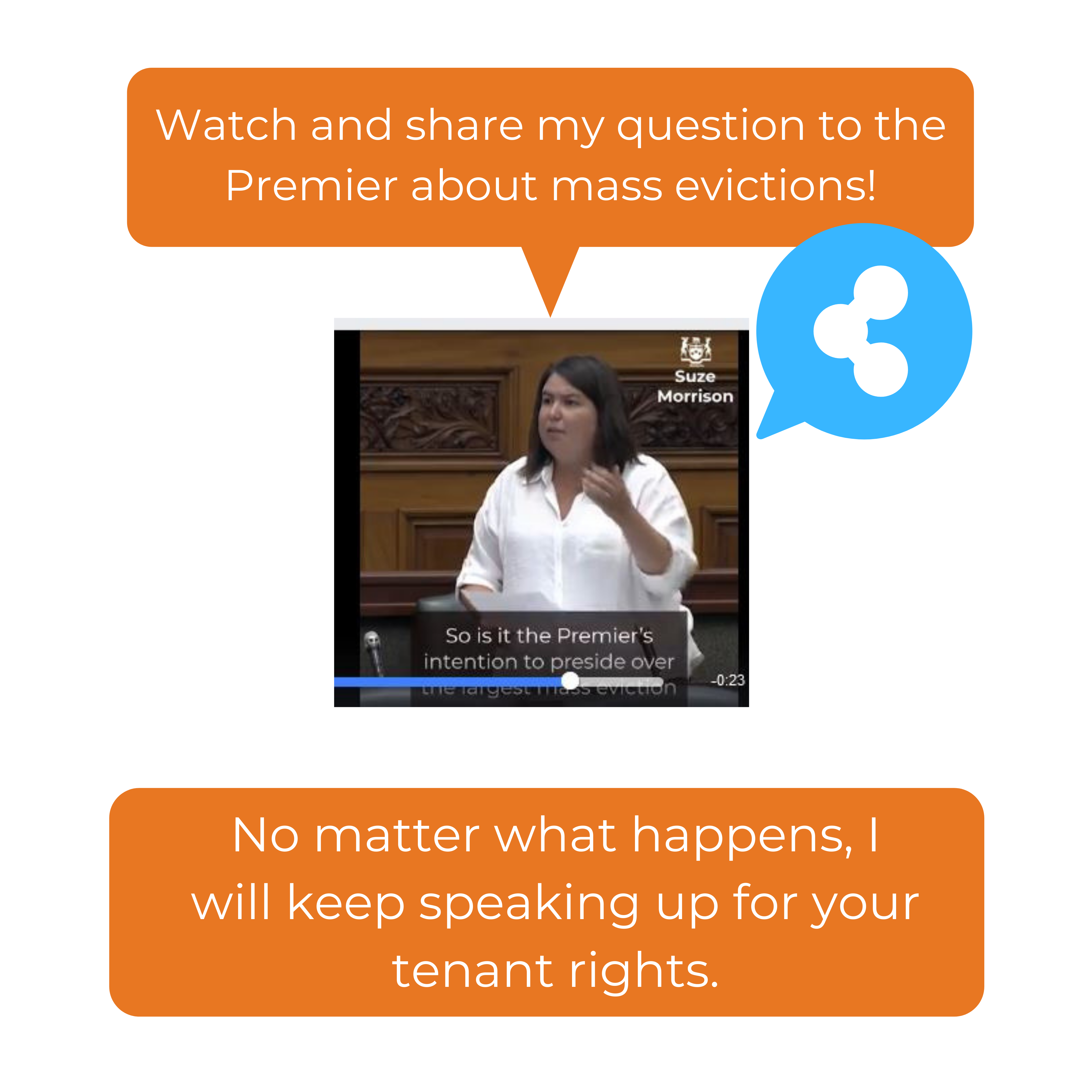 Watch and share my question to the Premier about mass evictions! No matter what happens, I will keep speaking up for your tenant rights.