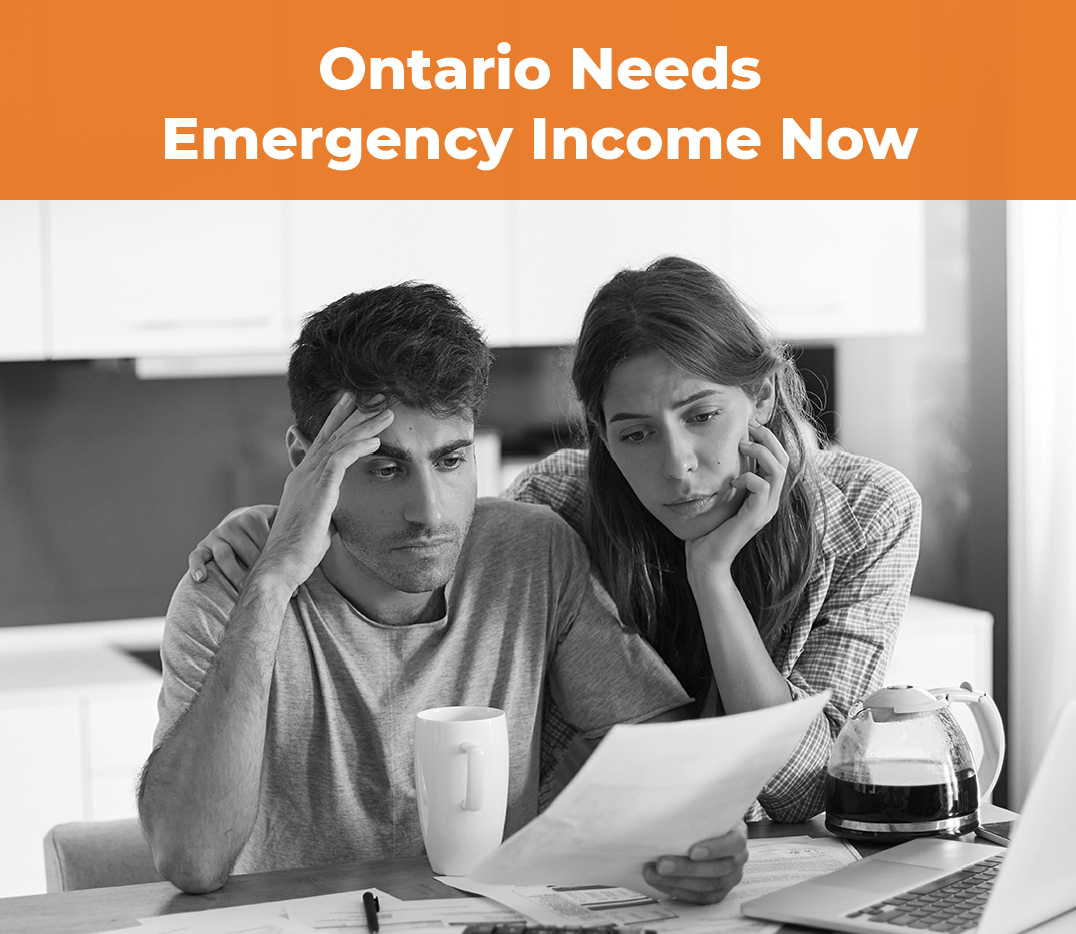 Image calling for $2000/month in emergency basic income for Ontarians.