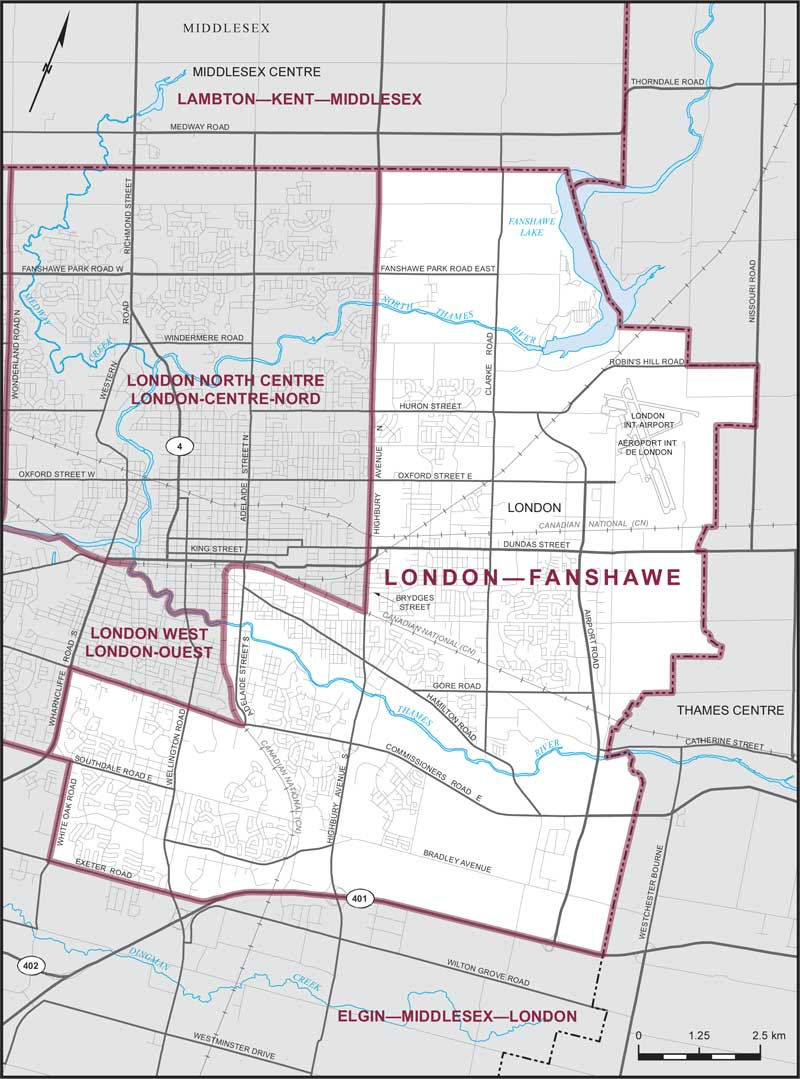 Boundaries for London-Fanshawe Riding