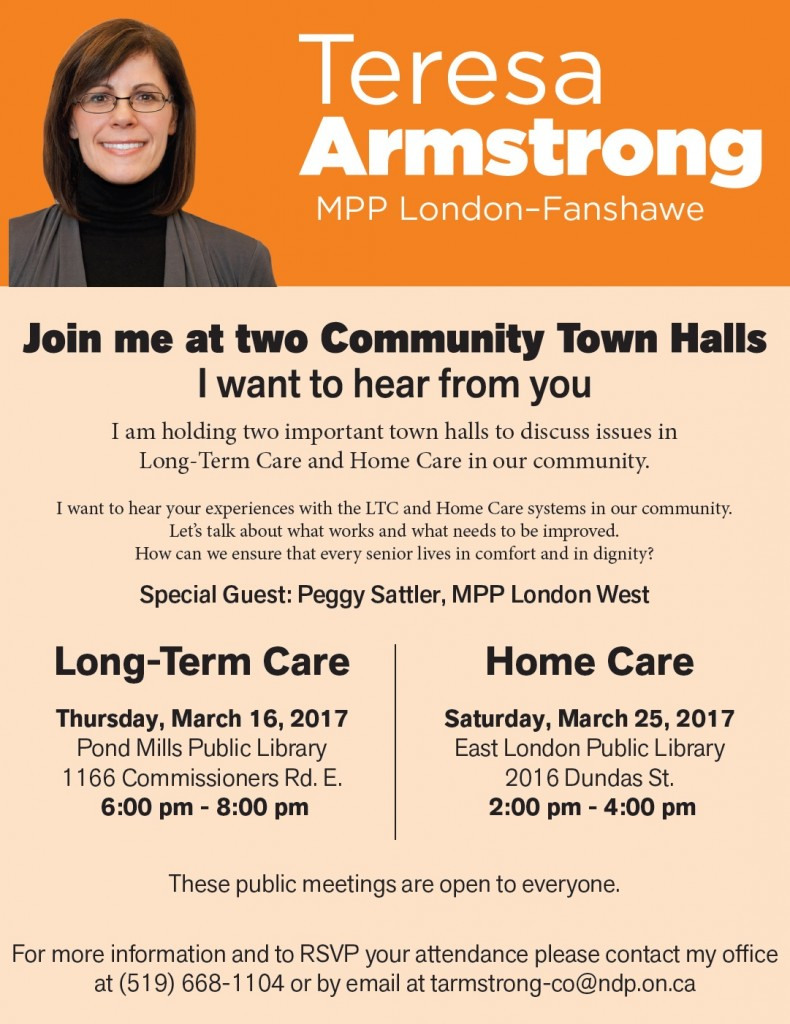 Teresa Armstrong Long-Term Care Town Hall
