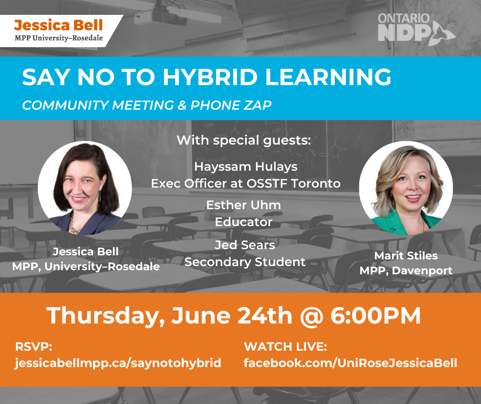 SAY NO TO HYBRID LEARNING Community Meeting & Phone Zap