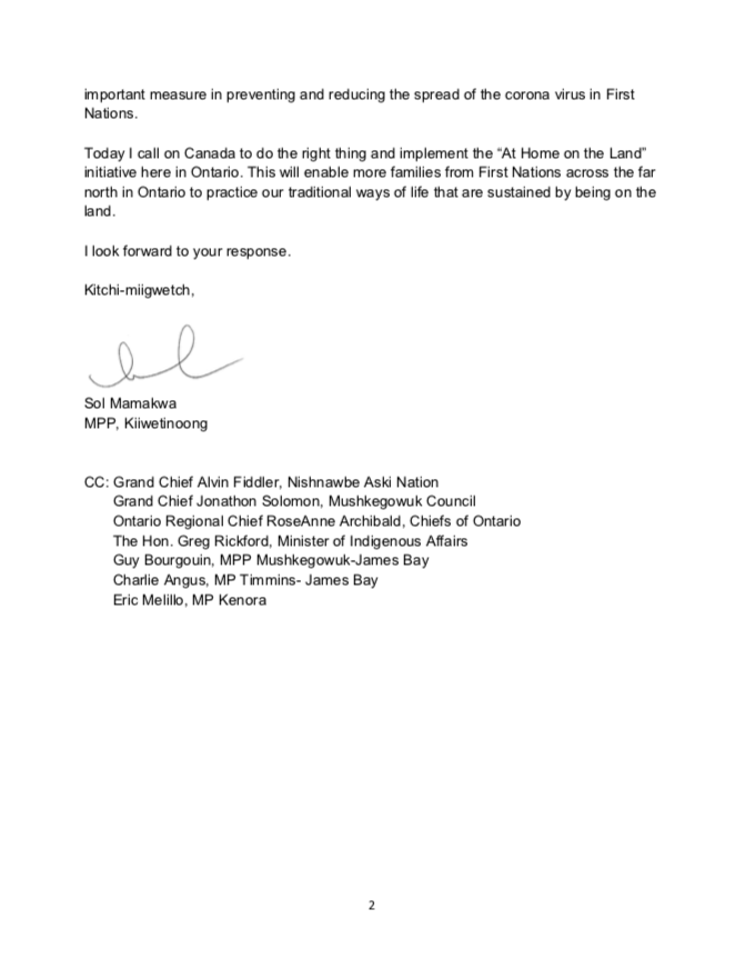 Page 2 of Letter