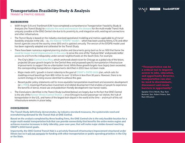 Summary of Transportation Feasibility Study & Analysis