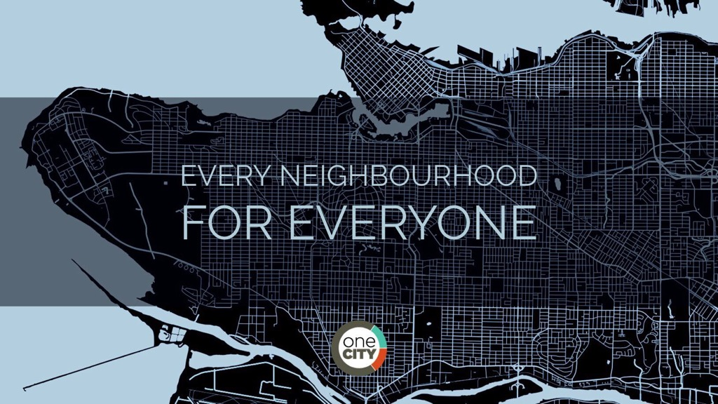 a street map of Vancouver with the text every neighbourhood for everyone