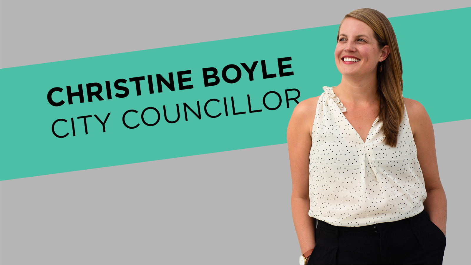 Christine Boyle looking up to the left. Text reads Christine Boyle, city Councillor