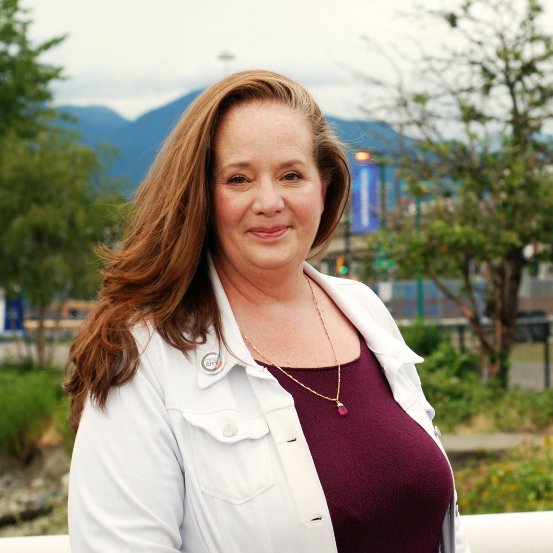 Carrie Bercic Stands in Vancouver Park