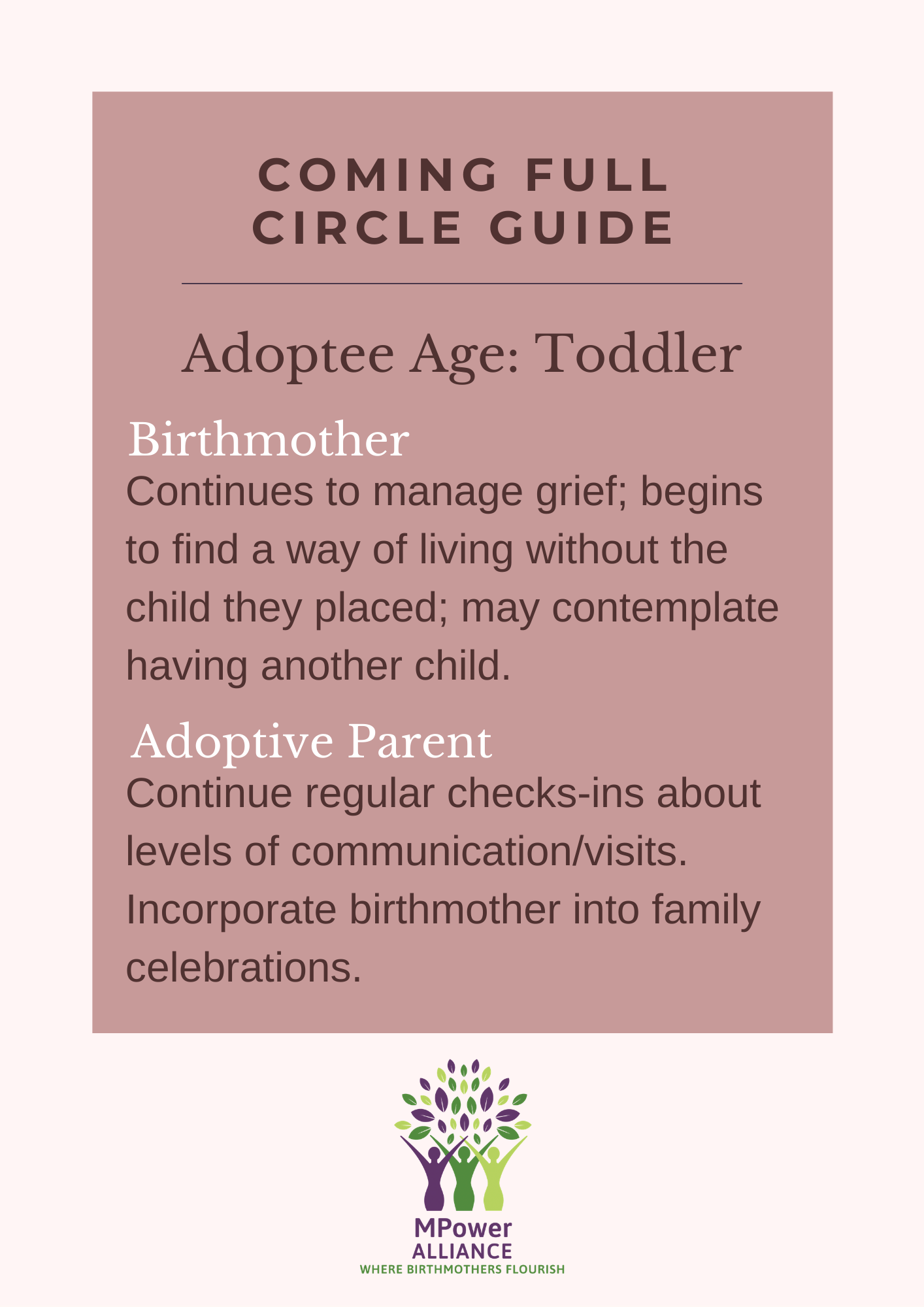 Learn how to best connect with the birthmother of your child in relation to each stage of your child's development.