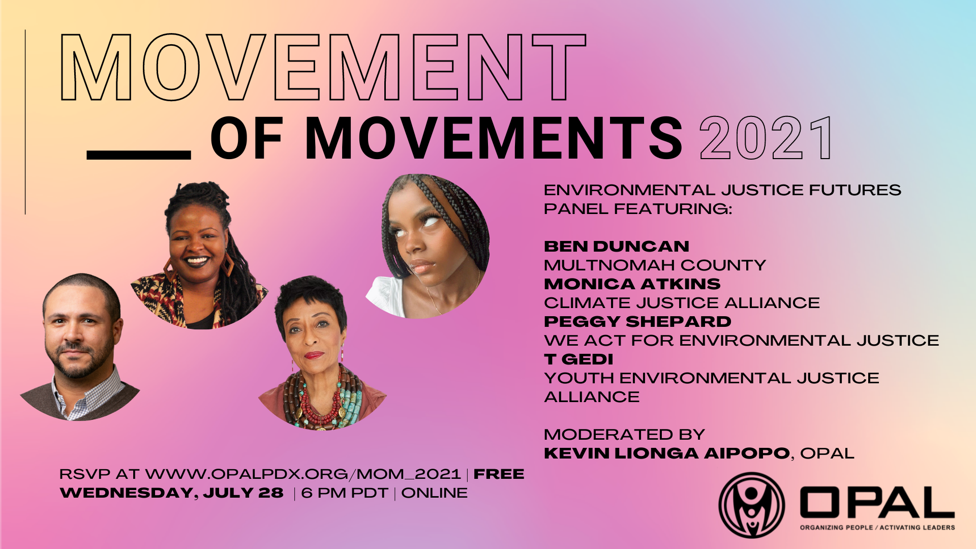 Movement of Movements event banner for environmental justice futures panel featuring Ben Duncan of Multnomah County, Peggy Shepard of We Act for Environmental Justice, Monica Atkins of Climate Justice Alliance, and T Gedi of the Youth Environmental Justice Alliance