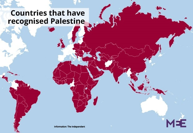 Countries that have recognised Palestine map