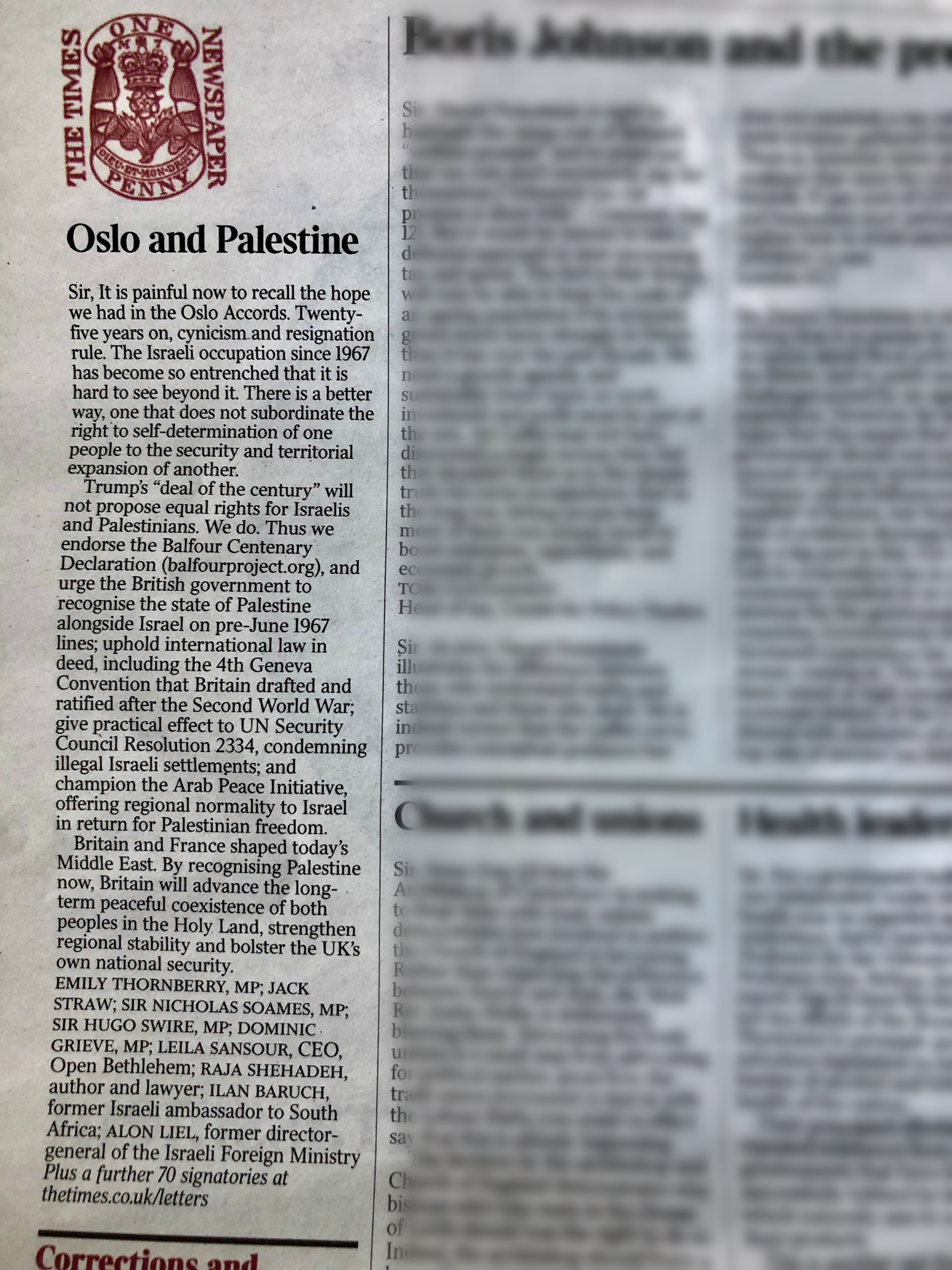 Times letter about Oslo 13 September 2018