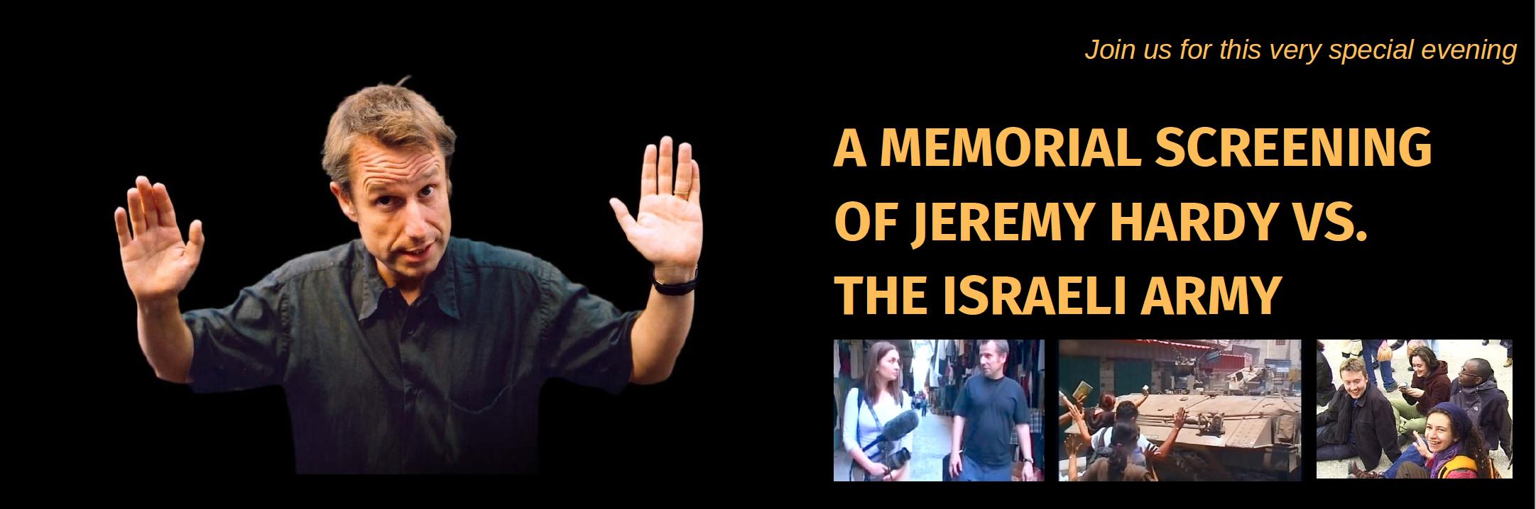 Jeremy Hardy versus Israeli Army header