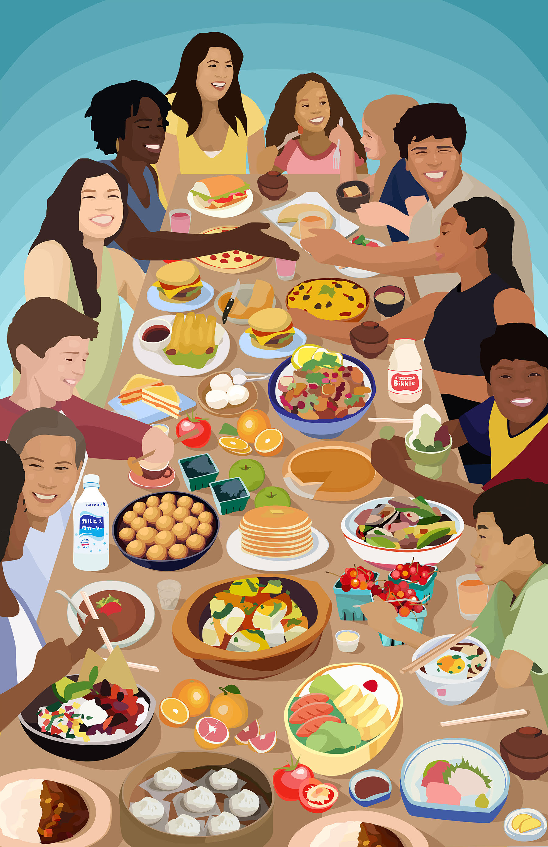 9 people of varying races and genders sit and stand around a table laden with food, eating together