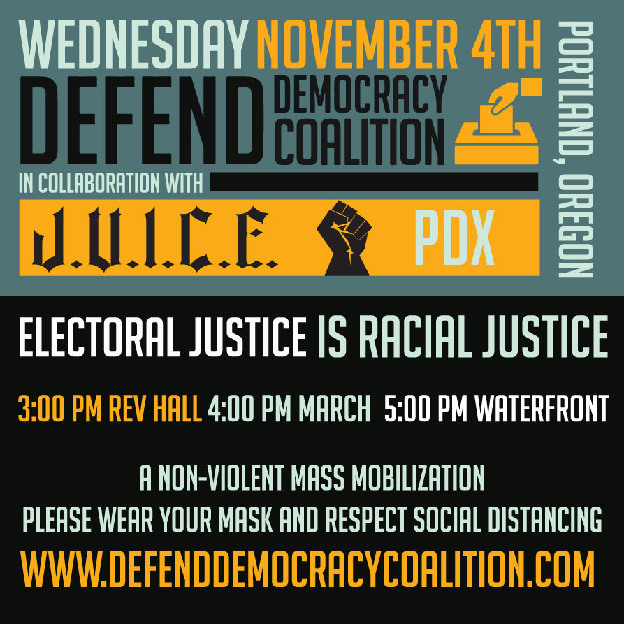 graphic for Nov 4 Defend Democracy March in Portland