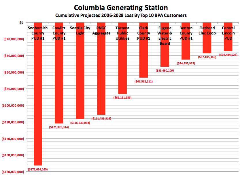 Columbia Generating Station Cumulative Projected 2006-2028 Loss By Top 10 BPA Customers Graph