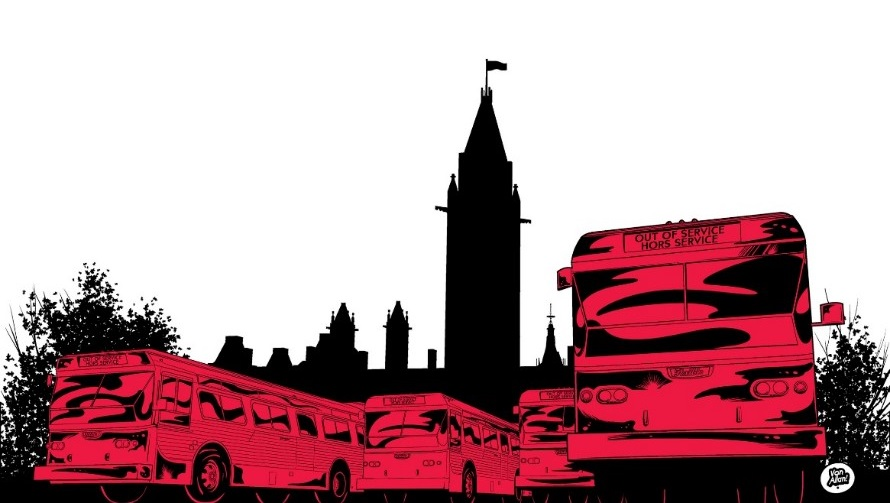 Three colour image (red, black, and white) showing three buses and a silhouette of the Peace Tower (Parliament Hill) behind them. Drawing by Von Allan.