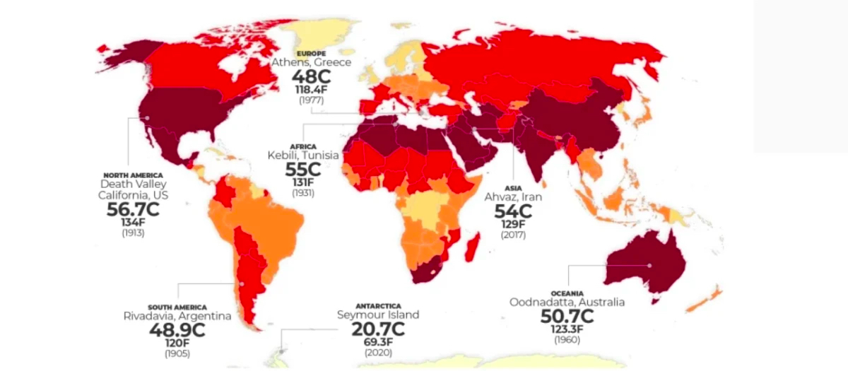 Map of world showing record temperatures