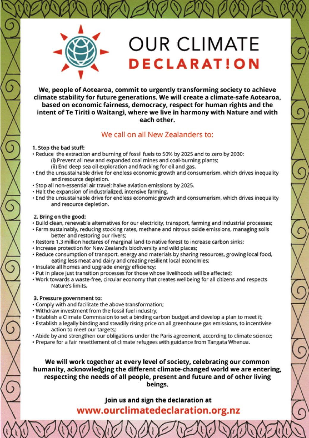 Our Climate Declaration A4 Poster
