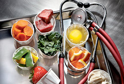 Some food items and a stethoscope