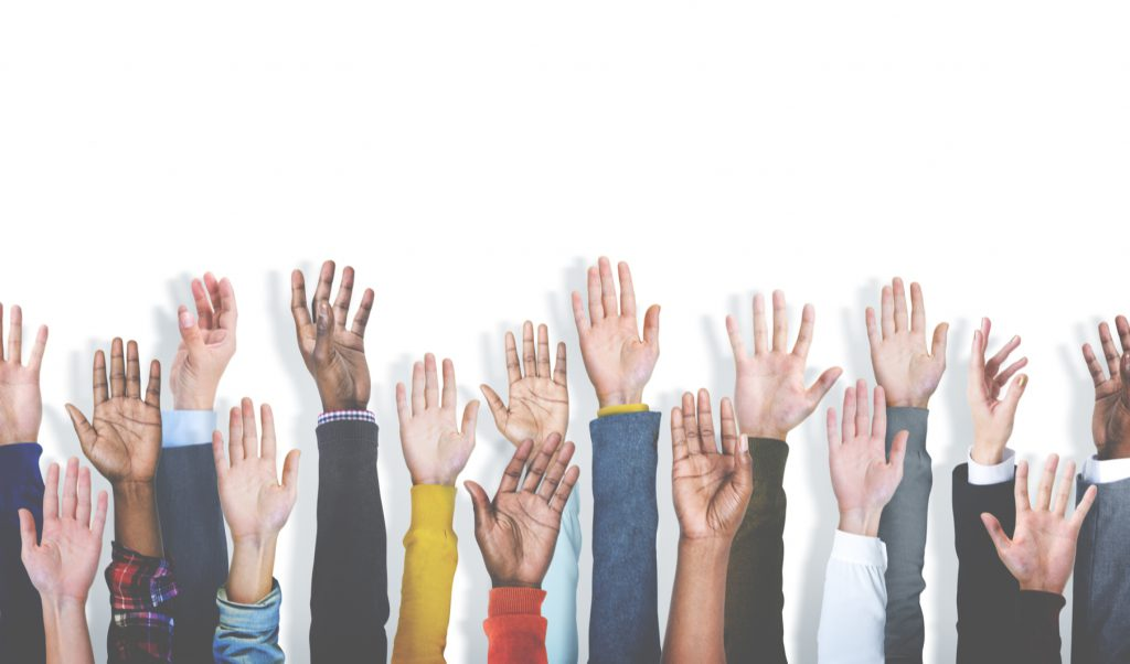 Group of Multiethnic Diverse Hands Raised Concept
