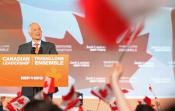 New Democratic Party (NDP) leader Jack Layton speaks to his supporters after the