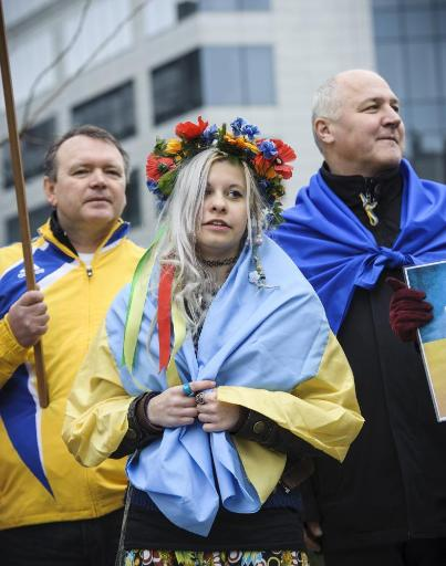 Pro-Ukrainian activists demonstrating