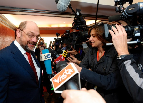 Martin Schulz doorstepping at Pre-Council today