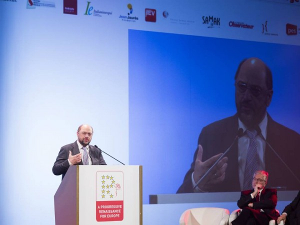 Martin Schulz speaking at the event