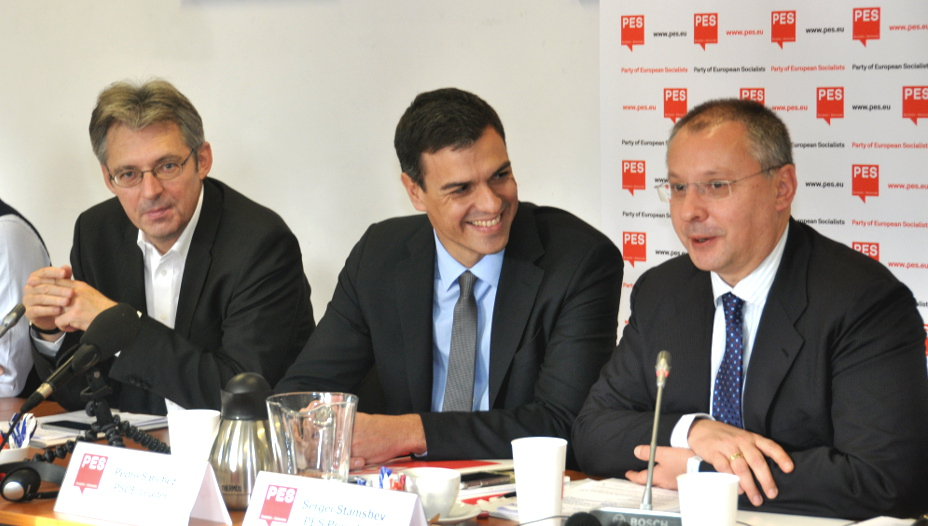 Achim Post, Pedro Sánchez & Sergei Stanishev during the PES Presidency meeting