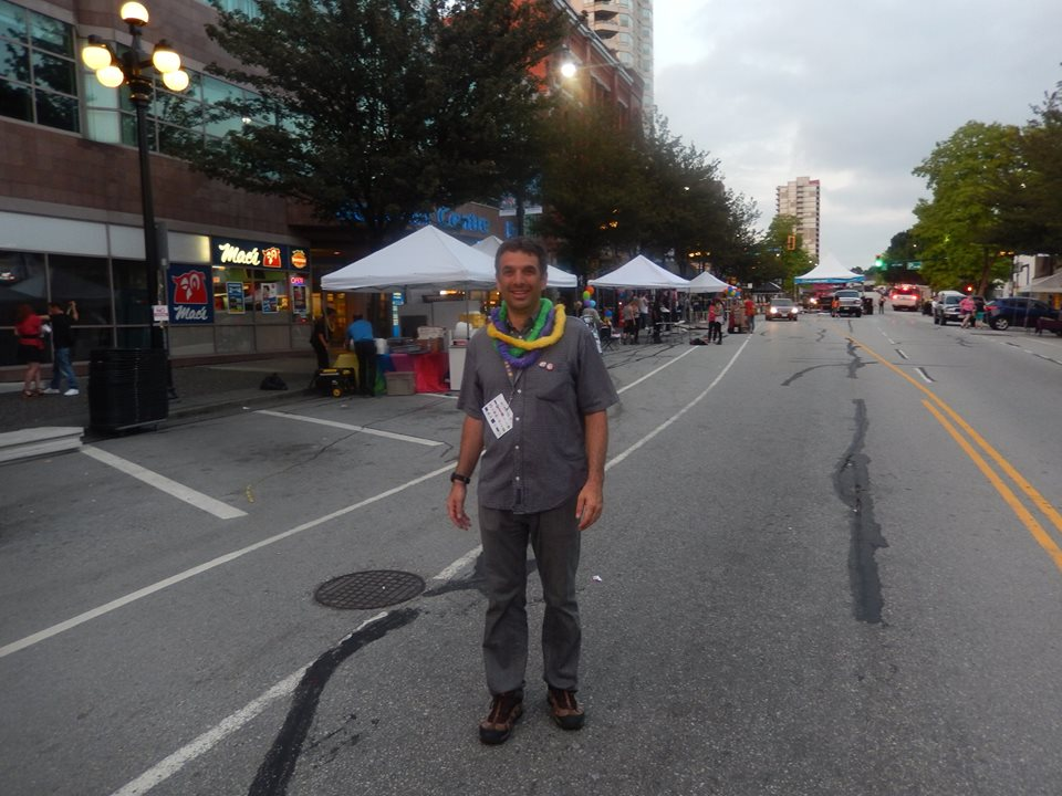 Tired volunteer at the end of the Pride Street Opening