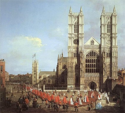 Westminster Abbey with a procession of Knights of the Bath-1749
