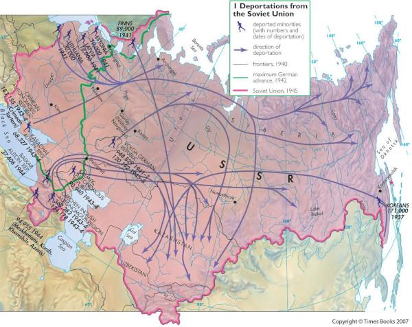 Map of population displacement Soviet Union