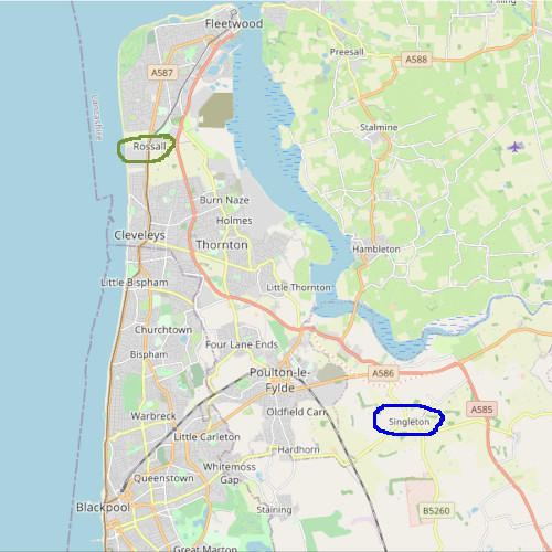 Fylde coast showing Rossal and Singleton