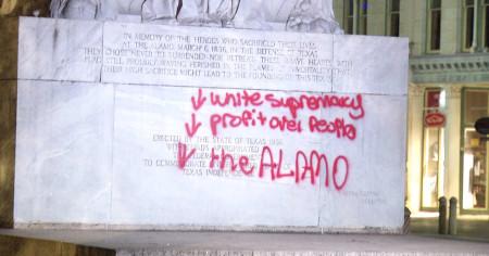 Defaced Alamo memorial
